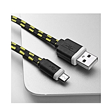 3M Micro USB Flat Braided Charger Cable For Android Smart Phones - Black