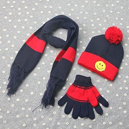 Eissely 3 Sets Winter Boys Girls Smile Scarf Neck Keep Warm Scarves Hat  Gloves 5c1c438bf7b