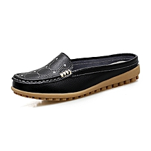 Women Loafers Genuine Leather Casual Shoes For Female Moccassins (Black)