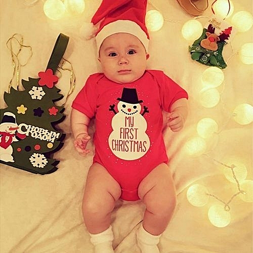 c71e80d9c17c Glorystar Refined Christmas Children Santa Claus Two Sets Baby Suits  Short-sleeved T-shirt + Hat - Red