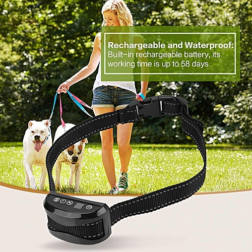 Anti Bark Control Electronical Collar Automatic Dog Remote Stop Barking  Training Black