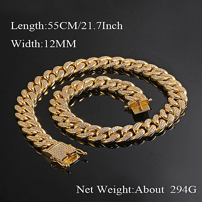 50e7cf77d13 Gold 56cm (22inch) 12mm-12 Hop Hip Hop Jewelry Diamond AAA Micro Zircon
