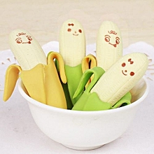 2PCS Banana Fruit Style Rubber Pencil Eraser Office Stationery Gift Toy