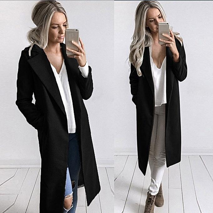 95744dcb8af7 Xiuxingzi Winter Womens Long Coat Lapel Parka Jacket Cardigan Overcoat  Outwear Black/L