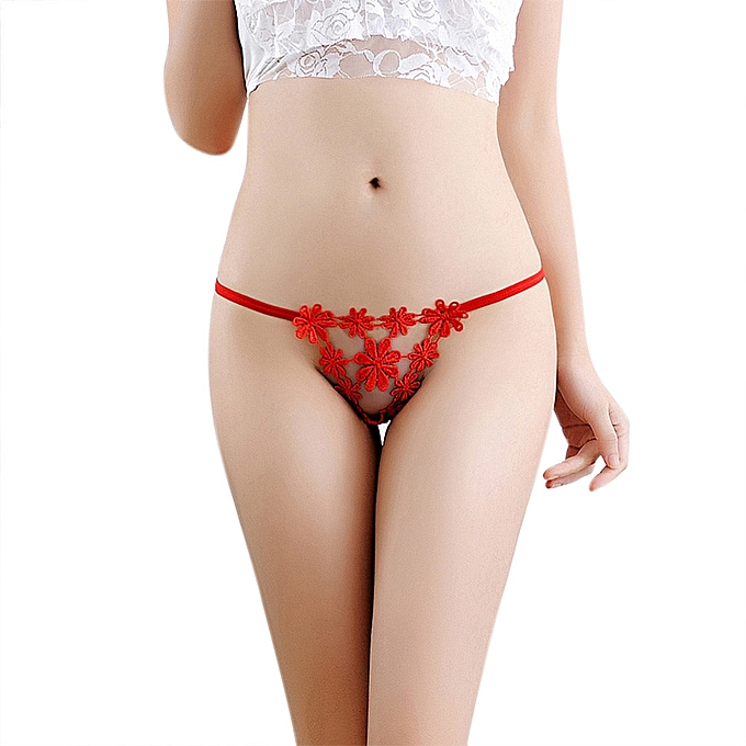 2e79e192380 Women Sexy Lingerie Low Waist Lace Thong Panty G String Sexy Women Underwear  RD-Red