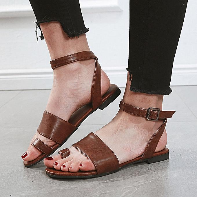 2a3a0b81ea wenrenmok STORE Women's Summer Open Toe Beach Breathable Flat Buckle Strap  Sandals Rome Shoes