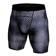 Crocodile Grain Printing Quick Drying Elastic Gym Sports Tight Shorts Underwear for Men