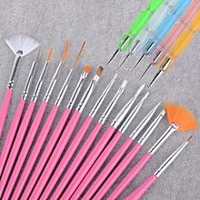 20pcs Nail Art Design Set Dotting Painting Drawing Polish Brush Pen Tools-Pink