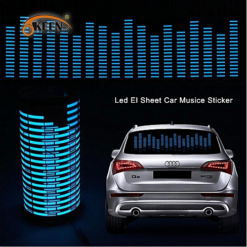 80*19 cm Music Equalizer on Car Windshield 5 Colour Music Rhythm EQ Car  Sticker LED Sound Music Activated EL Sheet Glue Stickers(blue)