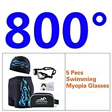 Men's 5 Pecs Myopia Goggles + Cap + Earplugs + Nose Clips + Bag + Swimming Pant(Size:800°)