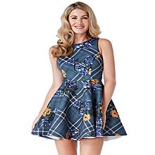 Floral and Tartan Skater Dress