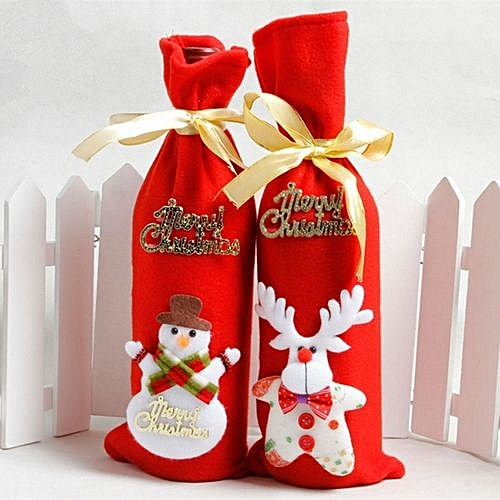 2pcs nonwovens christmas wine bottle decorate holiday decorations red