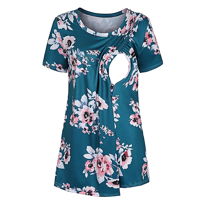 c5c3a27a9d862 Women Maternity Pregnancy Floral Print Nursing Baby Breastfeeding T-shirt  Tops