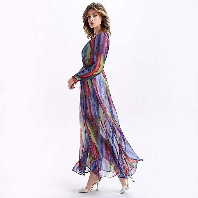 0612097b432 Fashion Long Sleeve Flowy Print Summer Maxi Dress - Colormix   Best ...