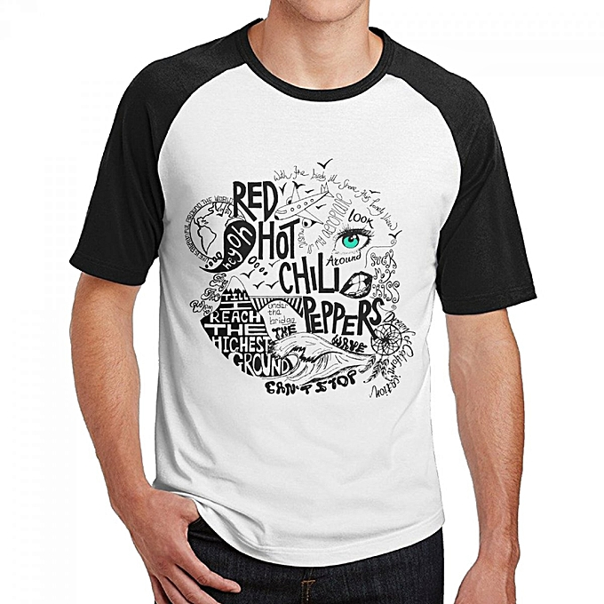 964183182 Red Hot Chilli Peppers Men's Cotton Short Baseball Raglan Sleeves T-Shirt  Black
