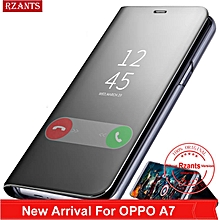 Rzants For OPPO A7 Case Luxury Slim【Mirror】Intelligent Stand Leather Flip Phone Casing