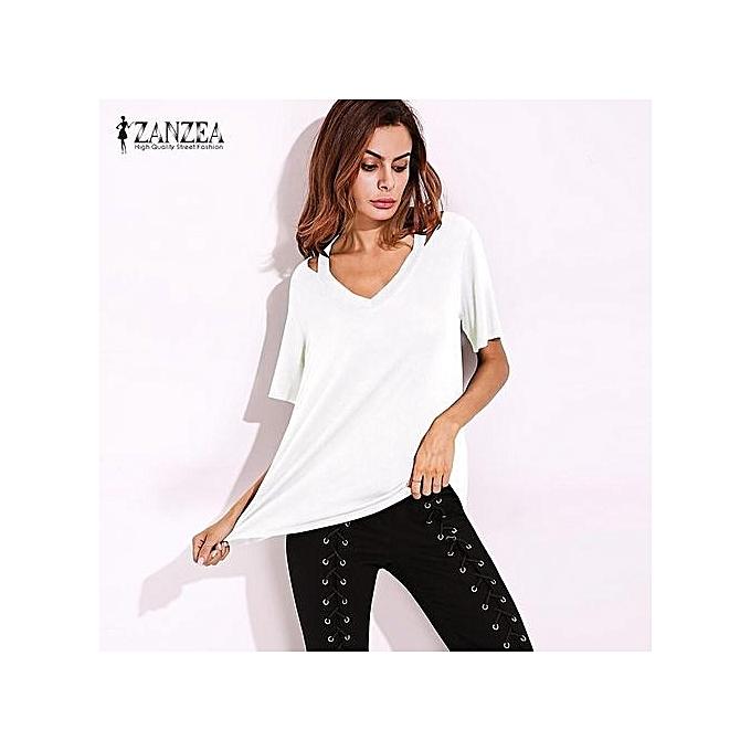 b5ab8605cd1 ... ZANZEA Women Short Sleeve Deep V Plus Asymmetrical T-Shirt Blouse Tops  Tee S- ...