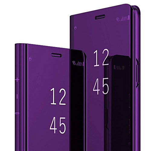 buy popular 1d152 53375 Case Cover for Huawei Y6 Pro 2019,Translucent Clear View Mirror  Multifunction Support Flip Stand Anti-Fall Huawei Y6 2019 Protective Case  (Purple, Y6 ...