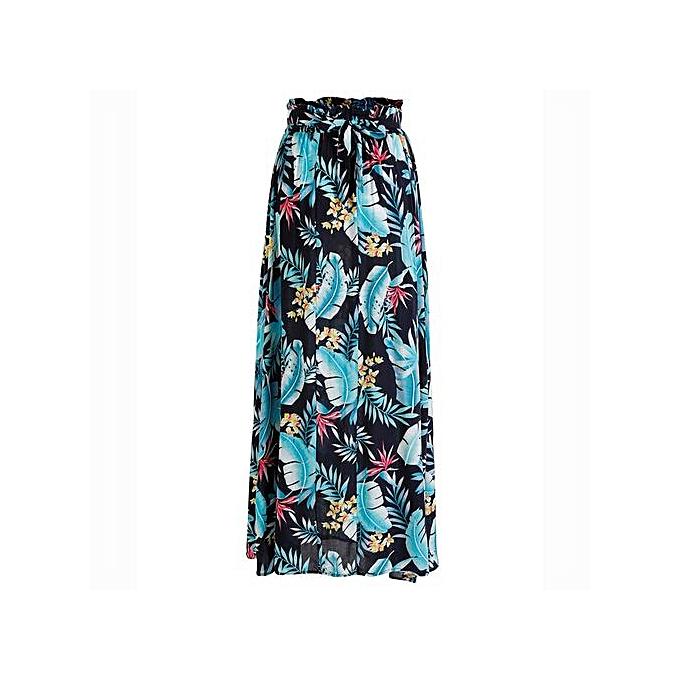 df972ccd29149 Hiaojbk Store Women Boho Maxi Skirt Beach Leaf Print Holiday Summer High  Waist Long Skirt-