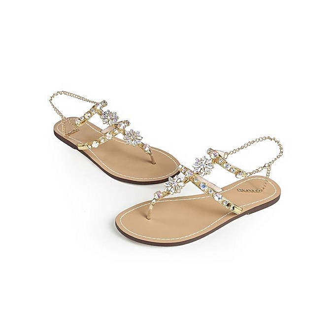 762772a5e6b Women s Sandals Women s Shoes Rhinestone Chain Thong Gladiator Flat Sandals  Crystal Shoes ...
