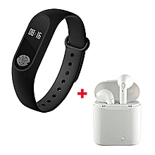 i7 Twin Bluetooth Wireles Earphone with Mic and Charging Pod With Free M2 Smart Bracelet - White