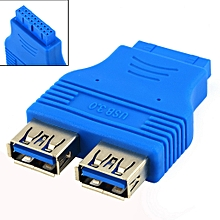 Motherboard 2 Ports USB 3.0 A Female to 20 Pin Header Female Connector Adapter