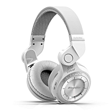 Wireless Bluetooth Headphones On Ear with Mic (White)