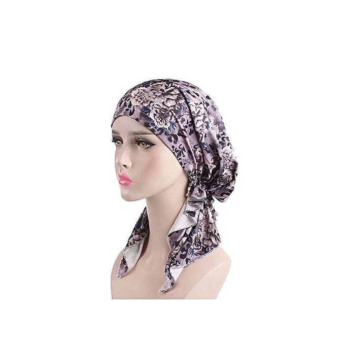 Zetenis Women India Muslim Elastic Turban Print Long Tail Hat Head Scarf  Wrap-Multicolor ... 94ea24a4e8b