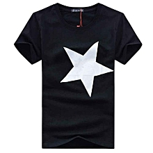 High Quality 100% Contton Men Printed Fashion Short Sleeve T-shirt BK L- Black