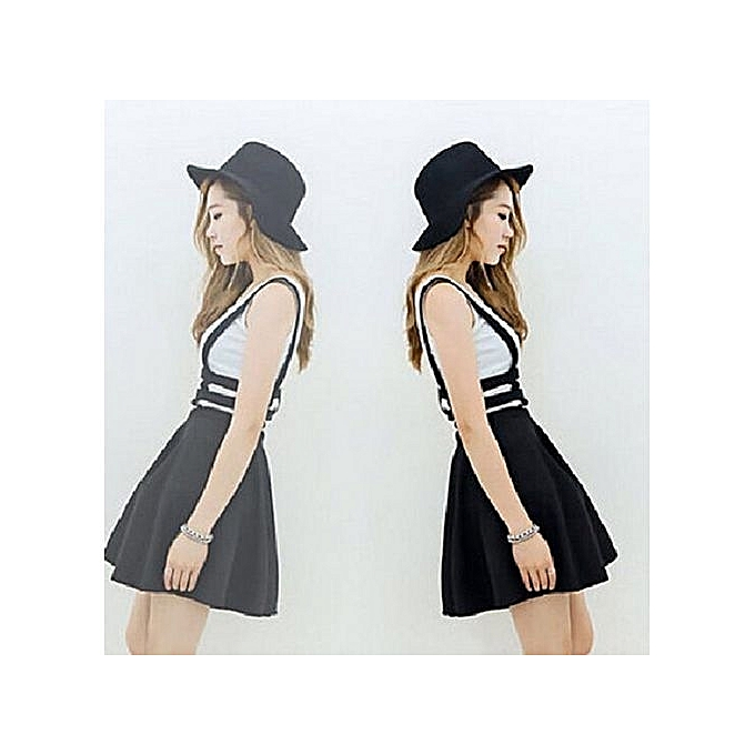 341a1a194db Refined Women Sexy Pleated Suspender Skirt Braces Hollow Out Bandage Mini  Skater Dress-Black