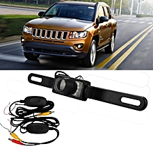 Wireless Rear View Camera Factory License Plate Frame Night Vision Camera + Wire-Black