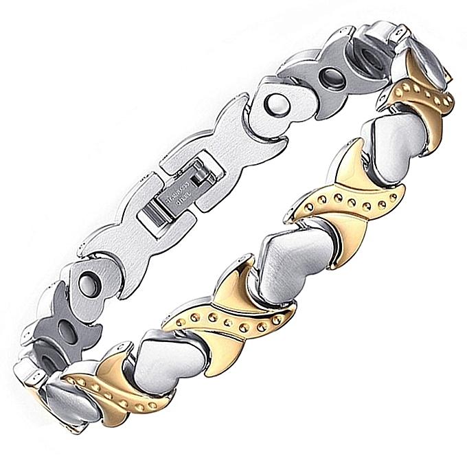Health Energy Bracelet Bangle Women Stainless Steel Bio Magnetic Male Adjule