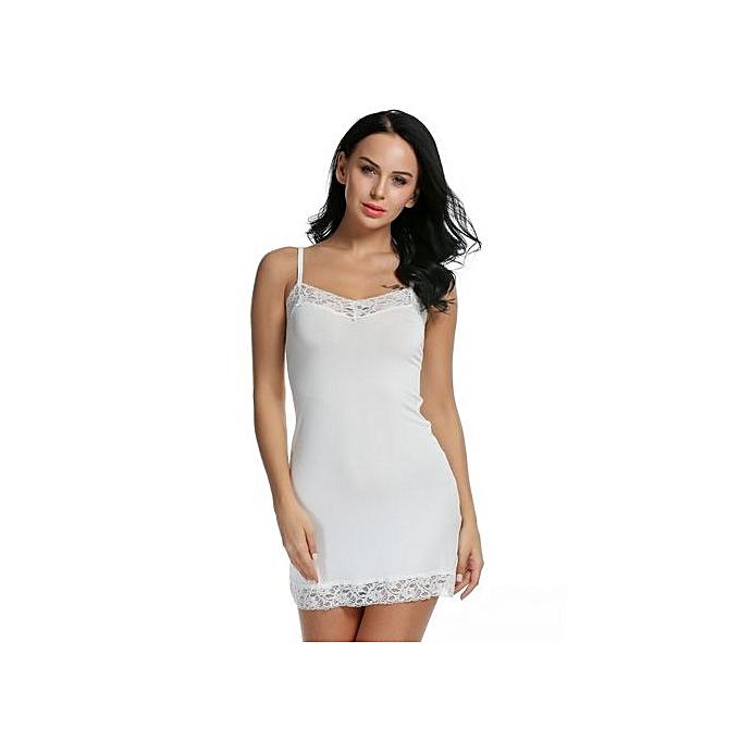 1b4119b1c7fe Women V Neck Sleeveless Adjustable Strap Lace Trimmed Chemise Slip Dress  With G-String ...