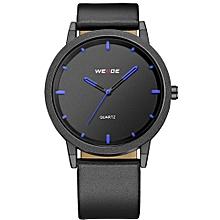 WEIDE WD001 Casual Style Luxury Men Wrist Watch Genuine Leather Strap Quartz Watches