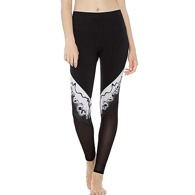 49dc7fcef92 Women Sports Yoga Leggings Mesh Splicing Stretchy Sportswear Fitness  Workout Skinny Bodycon Pants Trousers