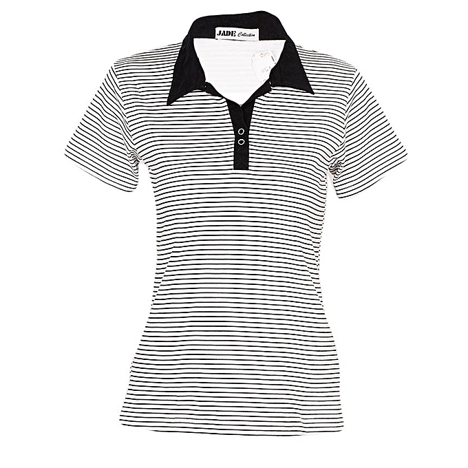 1b2c4a24c79 JADE Collection White Short Sleeved Striped Women's Polo T Shirt ...