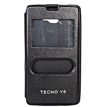 Double Window Tecno Y6- Flip Cover - Black