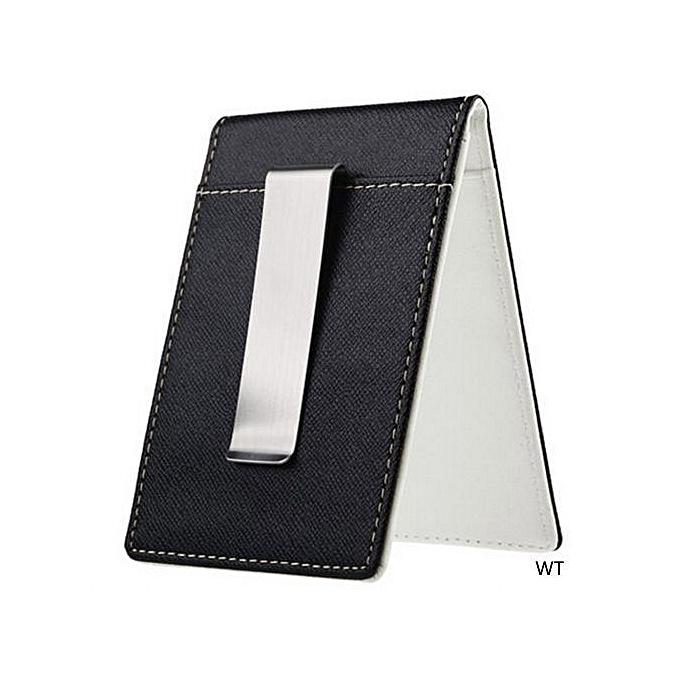 0c99d976f64b Eleganya Mens Leather Silver Money Clip Slim Wallet Black ID Credit Card  Holder Purse