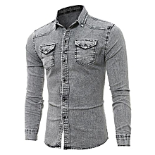bluerdream-Men's Shirts Retro Denim Shirt Cowboy Blouse Slim Thin Long Tops GY/L- Gray