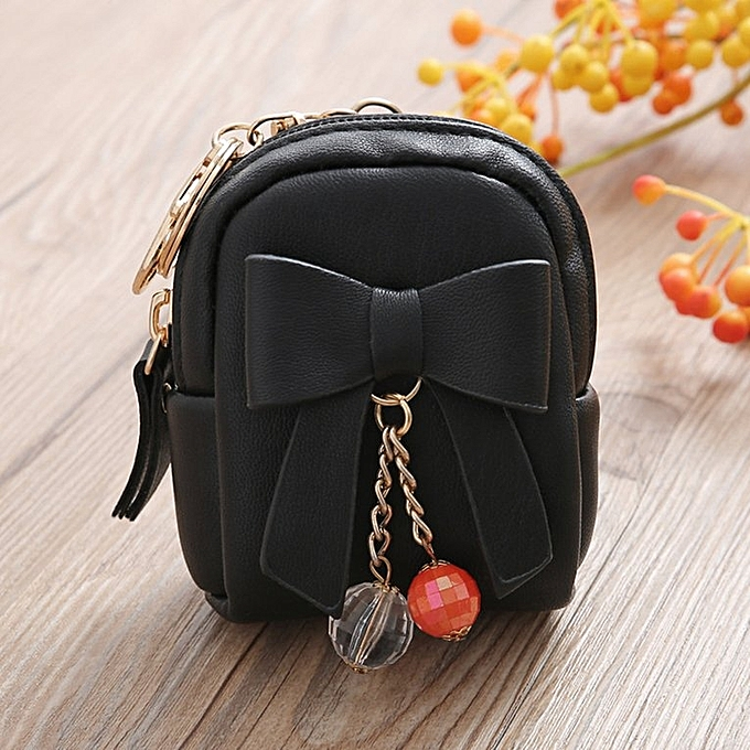 c8e979f6c429 Women Mini Small Bowknot Design Backpack Style Wallet PU Leather Wallet  black