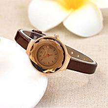 Lady  Leather Wrist Watch MCYKCY Women Fine Leather Band Winding Analog Quartz Movement Wrist Watch-Coffee