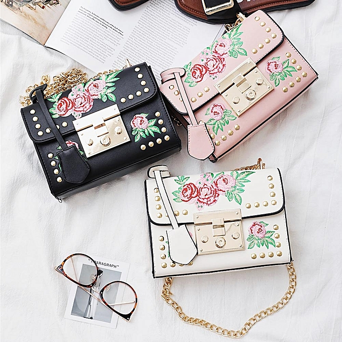 2151e2414b Women Floral Embroidered Shoulder Bag Chain Rivets PU Leather Flap Front  Casual Mini Crossbody Bag