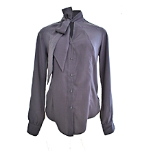 Grey Pussy Bow blouse