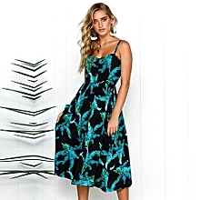 New Summer Women's Floral Print Sleeveless Shoulder-Straps Buttoned Backless Sexy Dress With 20 Colors Optional (Black)