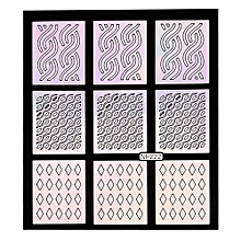 bluerdream-12 Sheets New Nail Hollow Irregular Grid Stencil Reusable Manicure Stickers -Colorful