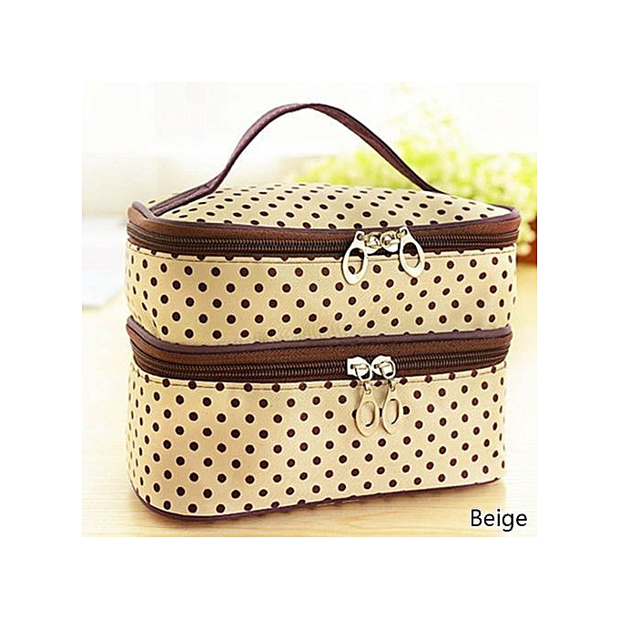 229c0cf5c0 Portable Double-Deck Cosmetic Bag Dot Pattern Makeup Bag Set Kit Toiletry  Bag KUA