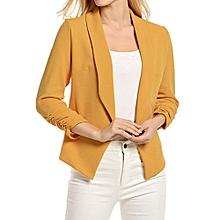 jiuhap store Women 3/4 Sleeve Blazer Open Front Short Cardigan Suit Jacket Work Office -Yellow