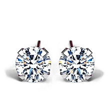 Simple CZ White 925 Sterling Silver Round Stud Earrings (4mm 5mm 6mm 7mm)