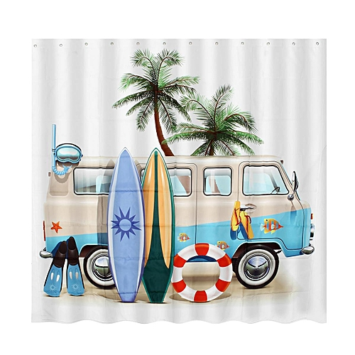 Diving And Surfing Bathroom Shower Curtain Waterproof Fabric W 12 Hooks 7171in