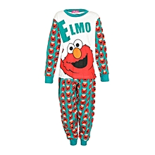 White/Red/Green Boy's Pajamas With Elmo Print